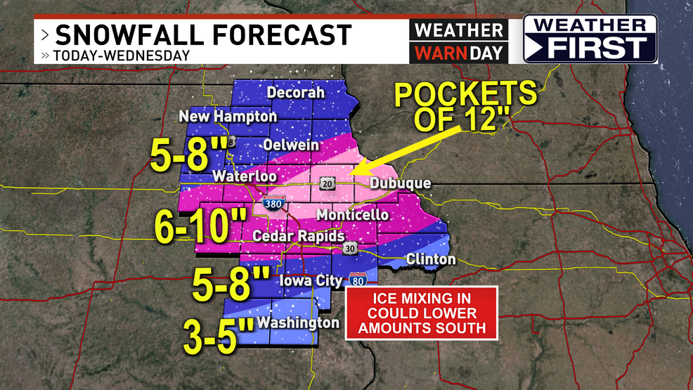 WEATHER WARN DAY: Difficult travel 3-11 pm in eastern Iowa as heavy snow, ice falls – KGAN TV